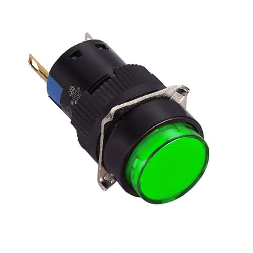 16mm, round Plastic LED indicator switches. Plastic housing and LED indicator available in single LED illumination. Red, Green, Blue, Orange, White, Yellow, SPDT and Voltages. RJS Electronics Ltd