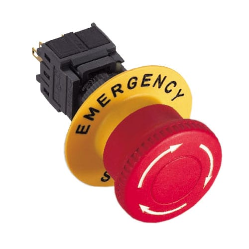 RJSPS16B Emergency Stop, panel mount, no illumination, emergency stop, push button, mushroom head, RJS Electronics Ltd.