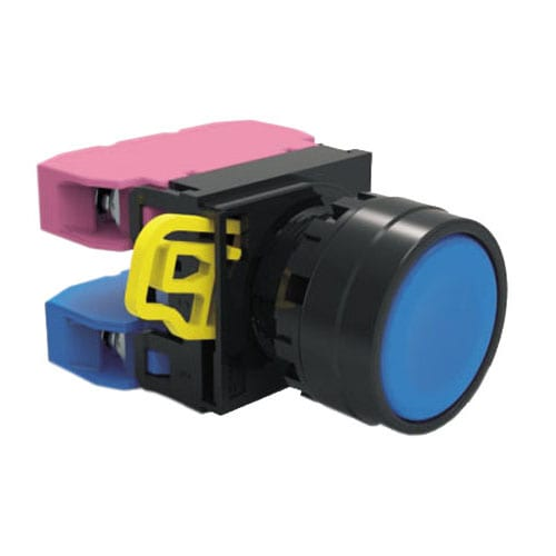 Panel Mount, Plastic Push Button switch with LED illumination. Single LED illumination, full illumination. 22mm push button, Ip65 Rated, weather proof, push button switch with terminal block. RJS Electronics Ltd.