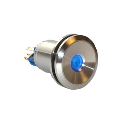 25MM METAL ANTI VANDAL PUSH BUTTON SWITCH WITH LED ILLUMINATED DOT RJS ELECTRONICS LTD