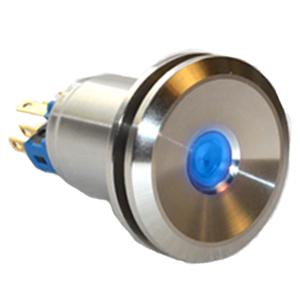Panel Mount Push Button metal switch, with flat mushroom head and LED illumination. IP67 Rated with single LED illumination. RJS Electronics Ltd.