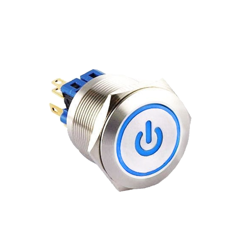 25mm metal anti vandal push button switch with custom led symbol, rjs electronics ltd