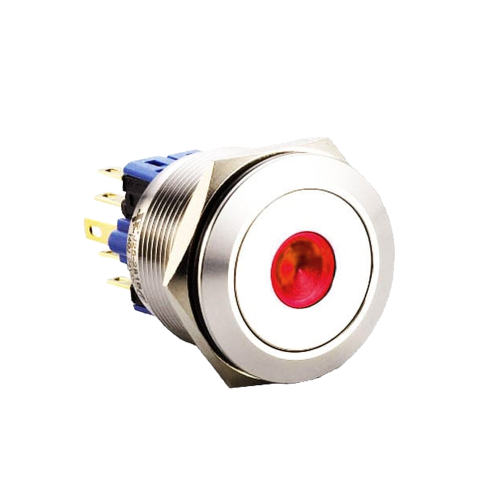 25mm metal push button switch with latching function with dot led illumination. Available at rjs electronics ltd
