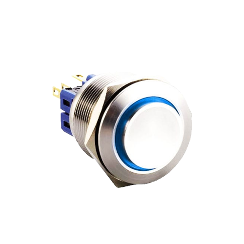 25mm metal anti vandal push button switch with led illumination, available at rjs electronics ltd