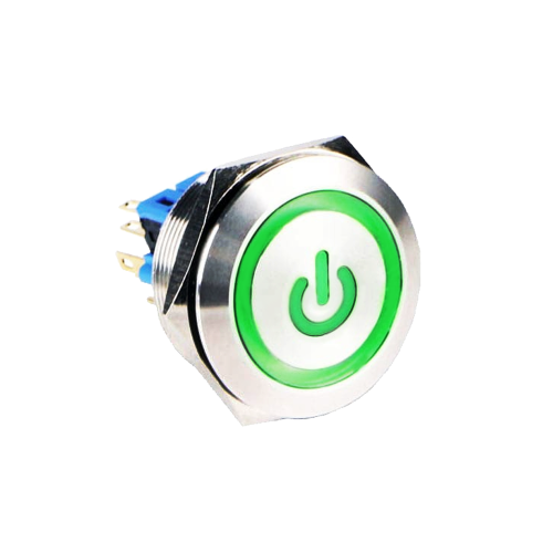 30mm latching metal anti vandal push button switch with custom led illuminated symbol, power symbol available at rjs electronics ltd