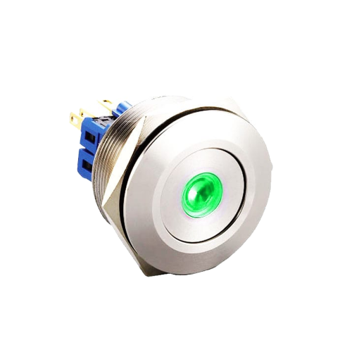 30mm metal push button switch with led dot illumination available at rjs electronics ltd
