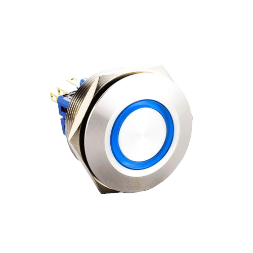 30mm anti vandal metal push button switch with led illumination, available at rjs electronics ltd