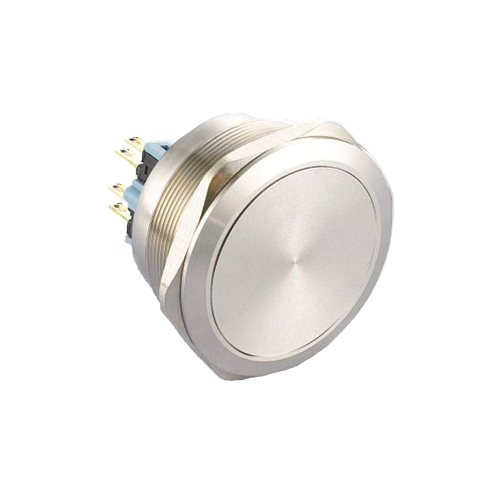 40mm metal anti vandal push button switch with no illumination. available at rjs electronics ltd