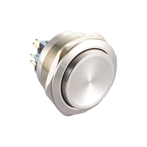 40mm metal anti vandal push button switch. Non illuminated with high head. Available at rjs electronics ltd