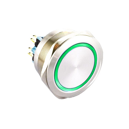40mm metal antivandal push button switch with led illumination. Latching option with IP67 Rating, available at RJS Electronics ltd