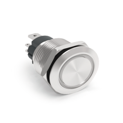 High current, non illuminated push button switches, available in stainless steel and aluminium black, available in sizes 16 – 25mm or choose with ring LED or ring and power LED illumination in momentary and latching function. RJS Electronics Ltd.