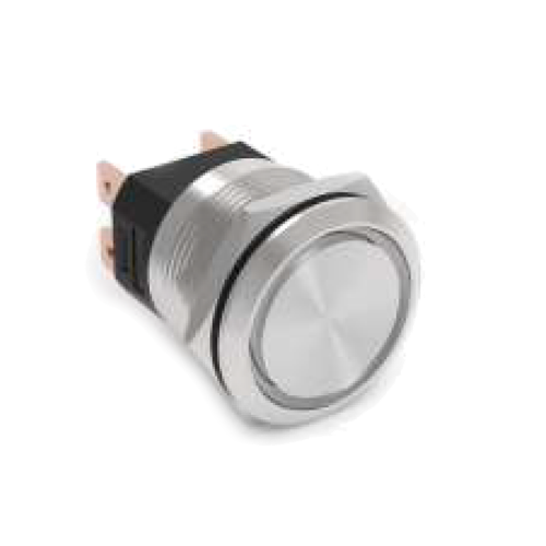 high current metal anti vandal push button switch with no illumination, rjs electronics ltd