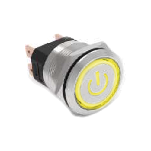 High current metal anti vandal push button switch with power and ring led illumination. Select from momentary function push button switch or Latching push button switch, Latching function. RJS electronics ltd