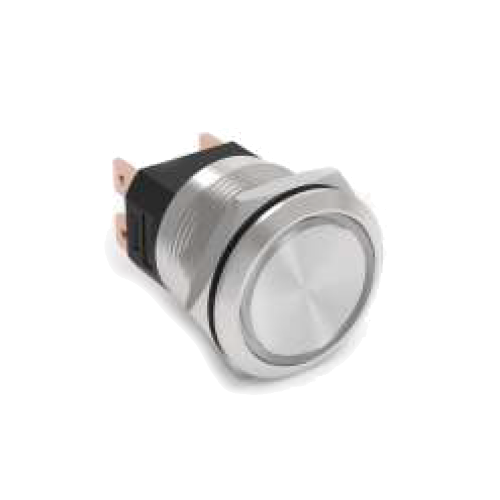 High current 25mm metal anti vandal push button switch available at rjs electronics ltd