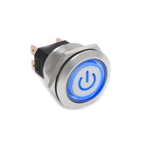 RJS[X]07-25L(A)-F-C5~67J - High current metal anti vandal push button switch with LED illumination, available at rjs electronics ltd