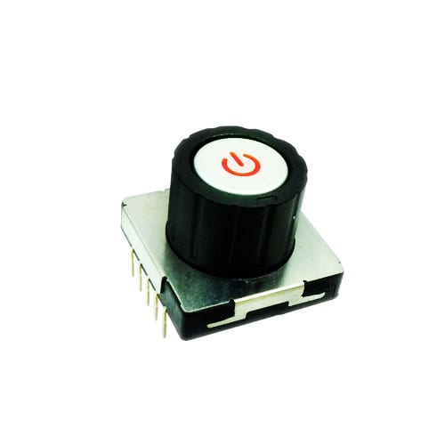 Rotary Switch, with push button power symbol and central push button switch. RJS Electronics Ltd.