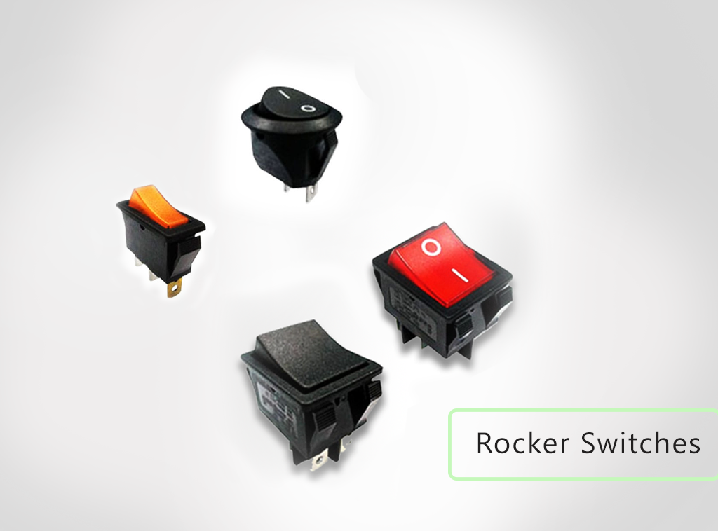 Rocker switches, PCB and panel mount, rocker switches available. With LED illumination and without LED illumination. RJS Electronics Ltd.