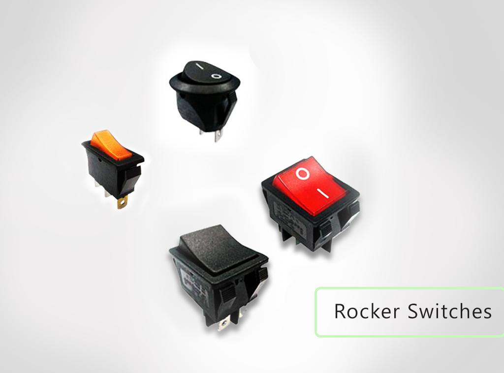 Rocker switches, PCB and panel mount, rocker switches available. With LED illumination and without LED illumination. RJS Electronics Ltd.