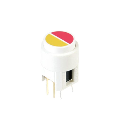 PCB push button switch with LED illumination, split face cap, rjs electroncis