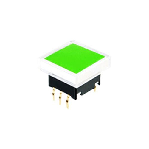 push button switch with led illumination, square cap, pcb mount, rjs electronics ltd