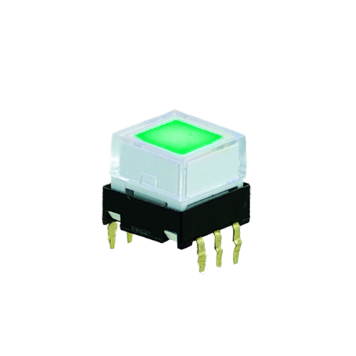 Low profile, pcb push button switch with led illumination. RJS Electronics ltd