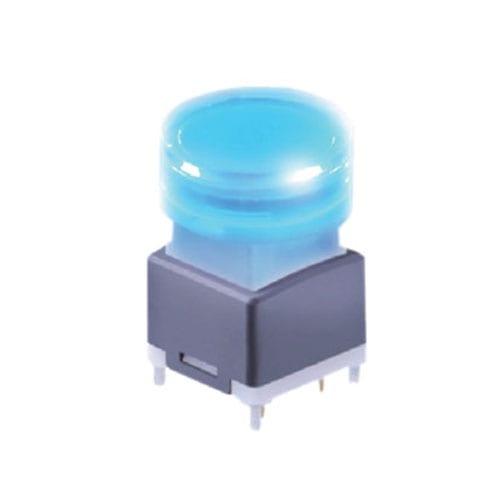 broadcast switch, push button switch with LED illumination, pcb mount, round cap, rjs electronics ltd