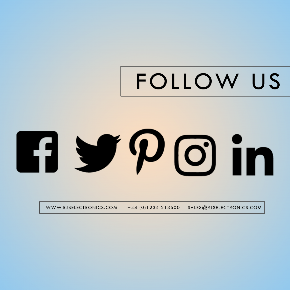 facebook, twitter, pinterest, instagram, linkedin, RJS Electronics Ltd