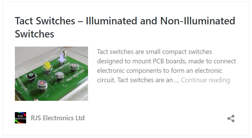 TACT switches blog post, tactile switches, rjs electronics ltd
