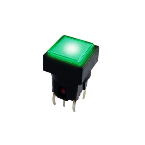 pcb push button switch with tactile feel, LED illuminated, momentary function, square plastic cap, rjs electronics ltd