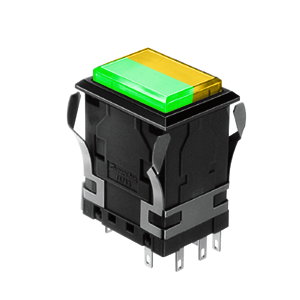 WH Illuminated push button switch - rectangular - green +yellow - 19x26mm push button switch Single LED illumination, Bi-colour LED Illumination, RGB Illumination, ring LED illumination, dot illumination, full illumination, split face illumination, dual illumination, RJS Electronics Ltd.
