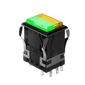 WH Illuminated push button switch - rectangular - green +yellow - 19x26mm push button switch Single LED illumination, Bi-colour LED Illumination, RGB Illumination, ring LED illumination, dot illumination, full illumination, split face illumination, dual illumination, RJS Electronics Ltd.