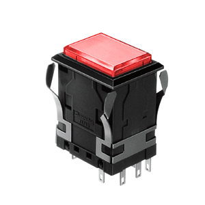 WH Illuminated push button switch - rectangular- red - 19mm x 26 mm push button switch Single LED illumination, Bi-colour LED Illumination, RGB Illumination, ring LED illumination, dot illumination, full illumination, split face illumination, dual illumination, RJS Electronics Ltd.