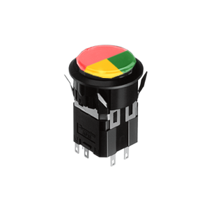 WH Illuminated push button switch - round- 25mm push button switch - 3plit face, yellow + red + green - RJS Electronics Ltd. Switch with LED Illumination, full face, 3split face. Single LED illumination, Bi-colour LED Illumination, RGB Illumination, ring LED illumination, dot illumination, full illumination, split face illumination, dual illumination,