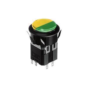 WH Illuminated push button switch - round- 25mm push button switch - green + yellow - RJS Electronics Ltd.