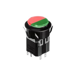 WH Illuminated push button switch - round- 25mm push button switch - red + green Single LED illumination, Bi-colour LED Illumination, RGB Illumination, ring LED illumination, dot illumination, full illumination, split face illumination, dual illumination, RJS Electronics Ltd.