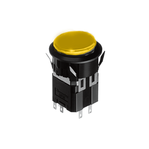 WH Illuminated push button switch - round- 25mm push button switch - yellow, Momentary push button switch, momentary function, IP rated, Single LED illumination, Bi-colour LED Illumination, RGB Illumination, ring LED illumination, dot illumination, full illumination, split face illumination, dual illumination, RJS Electronics Ltd.