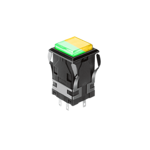 WH Illuminated push button switch - square - green +yellow - 19mm push button switch, Single LED illumination, Bi-colour LED Illumination, RGB Illumination, ring LED illumination, dot illumination, full illumination, split face illumination, dual illumination, RJS Electronics Ltd.
