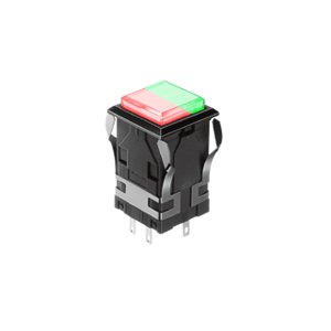 WH Illuminated push button switch - square - red+green - 19mm push button switch, Single LED illumination, Bi-colour LED Illumination, RGB Illumination, ring LED illumination, dot illumination, full illumination, split face illumination, dual illumination, RJS Electronics Ltd.