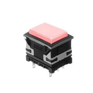 XH Illuminated push button switch - panel mount push button rectangular - red - 19x26mm push button switch with LED illumination- single LED illumination, full face LED illumination, split face LED illumination, caps and housing available separately RJS Electronics Ltd.
