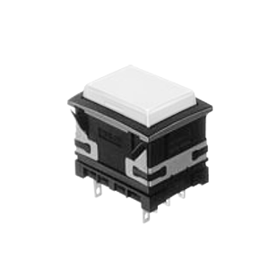 XH Illuminated push button switch - panel mount push button rectangular - white - 19x26mm push button switch with LED illumination- single LED illumination, full face LED illumination, split face LED illumination, caps and housing available separately RJS Electronics Ltd.