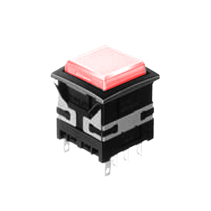 XH Illuminated push button switch - square - red - 19mm push button switch - RJS Electronics Ltd.