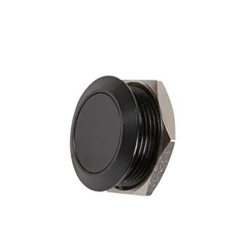 19mm metal anti vandal push button switch, black finish, low profile, rjs electronics ltd