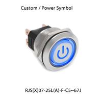 Panel Mount, Custom/Power LED illumination, Single colour, bi-colour or RGB LED illumination, RJS[X]07-25L(A)-F-C5-67J - RJS ELECTRONICS LTD