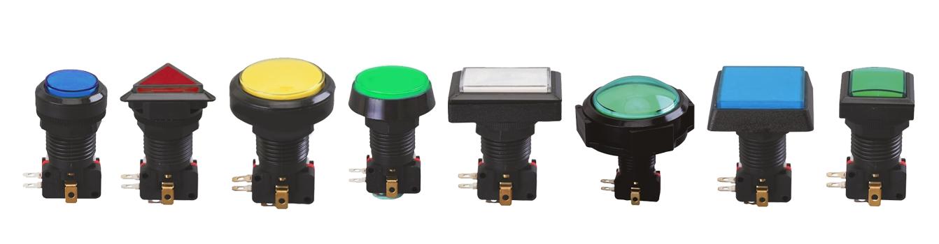 gaming button, full led illumination, panel mount, momentary, rjs electronics ltd