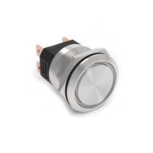 RJS107-22-F~67J, high current push button metal switch without LED, IP65 rated, RJS Electronics Ltd.