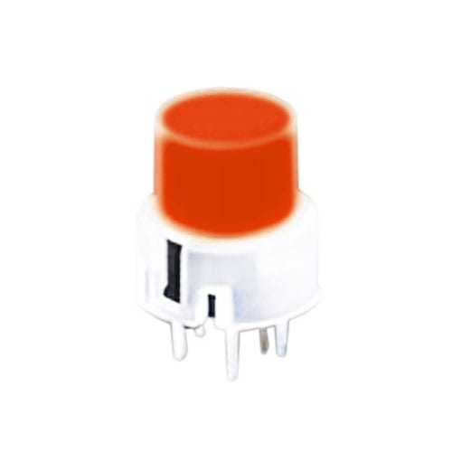 PCB, Push button switch, illuminated Tact Switch, momentary with push button feature, silent click, click sound. RJS Electronics Ltd.