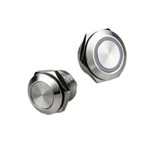 Low Profile switch, switches with LED illumination, ring LED illumination, brushed steel, anodised black or without LED illumination. Switches available from 12mm - 25mm and with micro travel, RJS Electronics Ltd.
