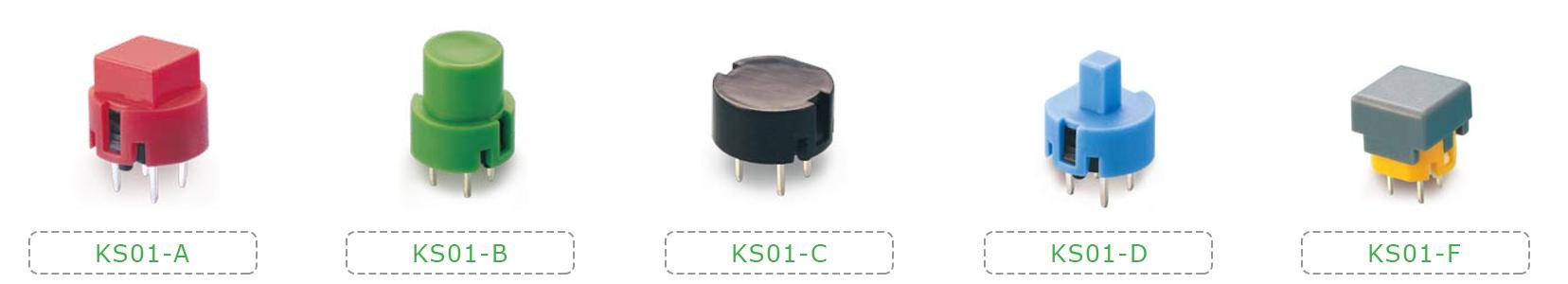 non illuminated pcb push button switches, coloured caps, custom, RJS Electronics Ltd