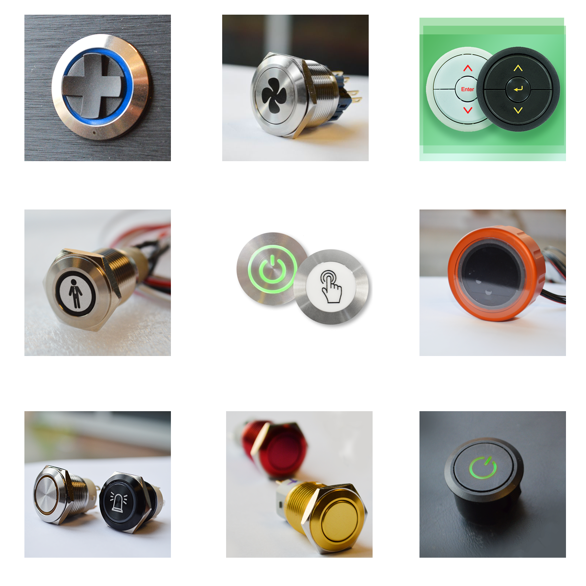 RJS Electronics Ltd, panel mount custom electromechanical switches with led illumination or without led illumination, supporting custom etching and stamping, supports coloured caps and metal colour finishes, black annodised or gold finishes, brushed or polished steel RJS Electronics Ltd