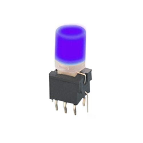 illuminated push button switch, pcb mount, small switch, rjs electronics ltd